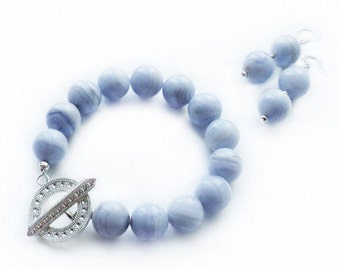 "Bracelet and earrings with blue agate ""Colour of the Sky"""