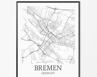 Bremen Map Art Print, Bremen Poster Map of Bremen Decor, Bremen City Map Art, Bremen Gift, Bremen Germany Art Poster