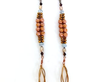 "5.25"" Extra Long Lightweight Hand Beaded Elegant Earthy Sparkly Earrings with 1930s Art Deco Finding"