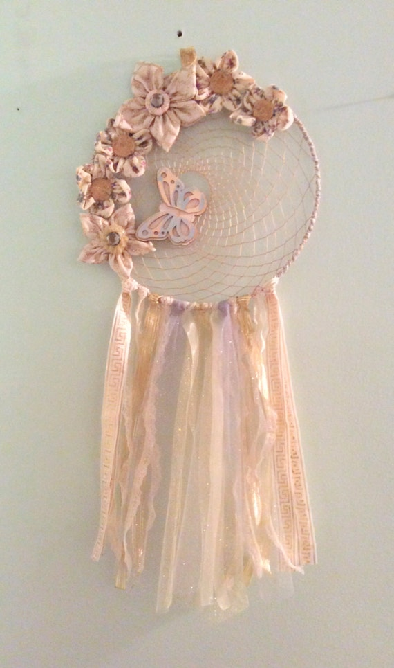 Handmade fabric flowers dream catcher tulle and lace wall