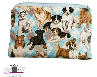 Dogs on Argyle Zippered Coin Pouch