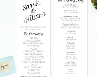"Bride & Groom Names in Script |  Wedding Program | Double-Sided | 4.25"" by 11"" | Customizable"