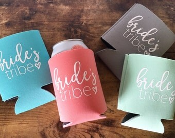 Bride's Tribe Can Coolers // Bachelorette Party Beer Can Coolers // Wedding // Custom Can Cooler// Bridal Party //