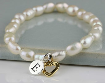 Freshwater Pearl Bracelet with Gold Open Heart Charm Personalised with a Solid Silver Stamped Initial Charm