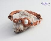 Viking Knit Copper Bracelet, Viking Weave Bracelet, Copper Bracelet, Wire Woven Bracelet with Pearls, Gift for Her