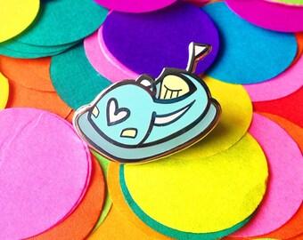 Blue dodgem pin - bumper car pin - enamel pin - lapel pin - hat pin - pin badge