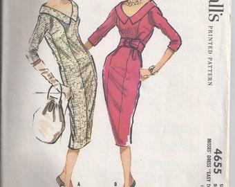 """McCall's 4655, from 1958, Misses One Piece Slim Dress, Kimono Sleeves and collar, Bust 36, """"Easy to Sew"""""""