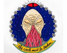 SMALL printed illustration card Doctor Who Ood Oods inspired