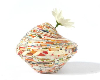 Recycled Paper Eco-Friendly Vase Home Décor Orange handmade Amphora First Anniversary Gift