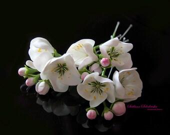 Hair bobby pin flowers. Wedding Hair Pins, Bridal Hair Pins, Flower hair pins, Floral hair,  hair accessories, hair flowers, apple flowers