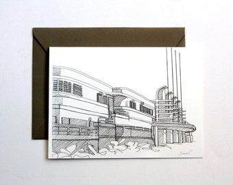 Card of Los Angeles, black and white line drawing printed artists cards, Pan Pacific Auditorium, Hollywood