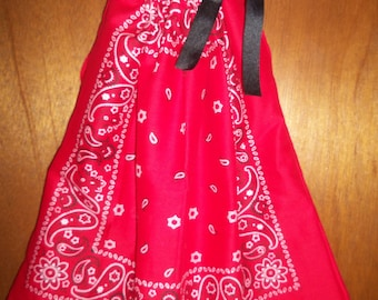 Red with White and Black Paisley Bandana Dress, BandanaTop. Valentines Day Dress or Top, 4th of July Dress or Top. ONE SIZE. Ready to ship