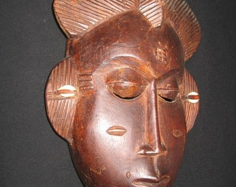 sale african mask ethnic wood carving baoule tribe ivory coast wood sculpture