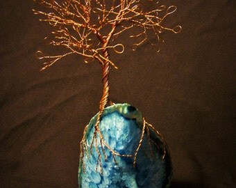 Looped Bare Copper Wire Tree Sculpture