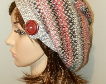 Women's Winter Slouch Hat - Kaleidoscope Red/Grey one size fits 9-90 years