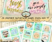 MOTIVATIONAL 2.5 inch square quote - printable for greeting card gift tag journaling pocket mirror scrapbooking watercolor quote - qu469