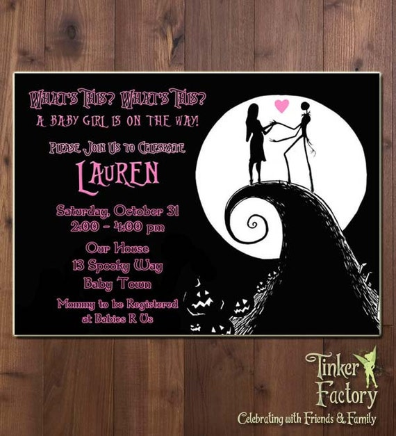 nightmare before christmas baby shower party invitation digital file
