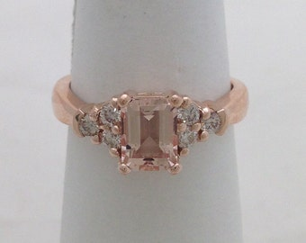 1 Carat Rose Gold Morganite Ring - 14K Emerald-cut 7x5mm with Diamonds