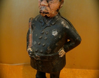 "Antique c1905 Early ""Mulligan"" Policeman Cast Iron Still Bank ~ made by A.C. Williams"