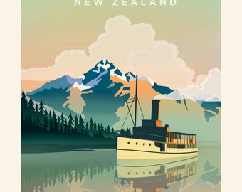 Queenstown Lake Wakatipu Travel Poster