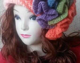 crochet crazy  hat, teen, adult, freeform crochet, one of a kind, purple,  green, orange and fraise ,boho chic