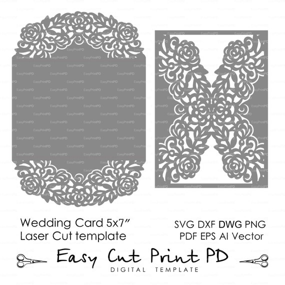 Wedding Invitation Pattern Card 57 Template Roses Lace