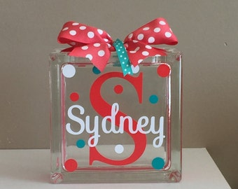 Girls Customized/Personalized Glass Block Money Bank/Piggy Bank (6-inch)
