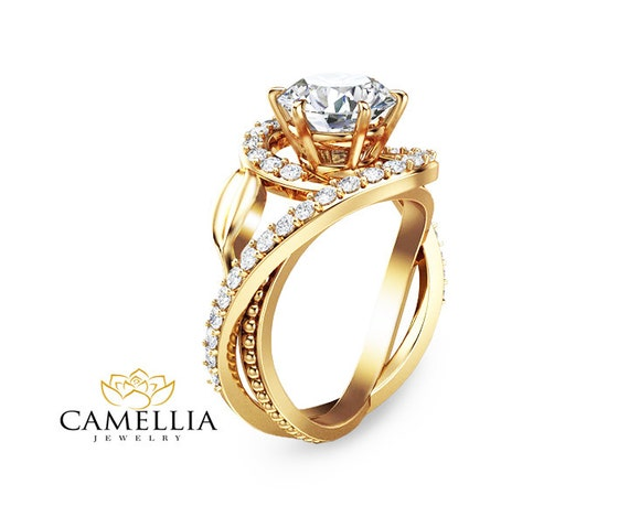 2ct moissanite unique engagement ring 14k yellow gold wedding