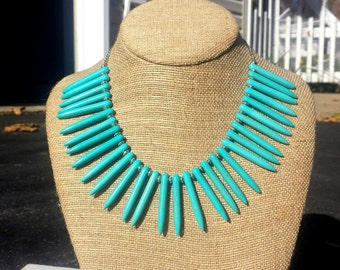 The Sacred Goddess - Silver and Turquoise Spike Statement Necklace