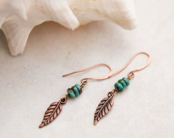 Copper Feather Earrings with Turquoise, Small Copper Earrings,  Boho Drop Earrings, Everyday Earrings, Bohemian Drop Turquoise earrings