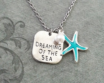 Dreaming of the Sea Necklace SMALL Blue Starfish Necklace Beach Necklace Pearl Necklace Teenage Girl Gift Bridesmaid Necklace Ocean Necklace