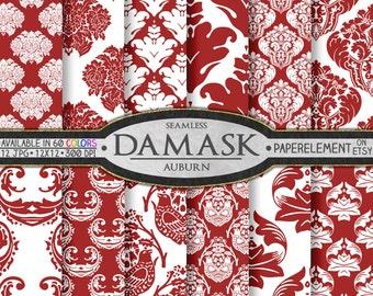 Auburn Red Damask Digital Paper - Crimson Red Damask Paper Backgrounds for Scrapbooking - Printable Digital Backdrop Patterns