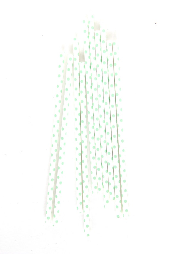 CLOSEOUT SALE Mint Small Polka Dot Straws 15 Count