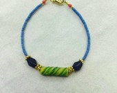 """FREE Shipping Worldwide Afghan Natural Turquoise, Coral Tiny Seed Beads Bracelet with Antique Roman Glass & Lapis Pendant 7"""" Made for Order"""
