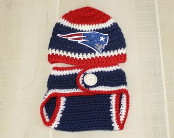 Patriots Fan Baby Go Pats Diaper Set New England Patriots Newborn Photo Prop Red White and Blue Crochet