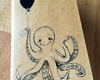Octopus with Balloon: Ruled Pocket Moleskine Journal