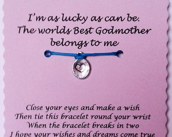 Godmother Gift, Godmother Wish Bracelet, Charm Bracelet, Godmother Jewelry, Godparent Gift, Godmother birthday, Godmother, Gift Godmother