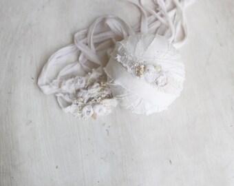 Mini cream rose tieback