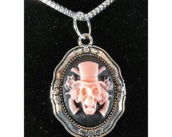Necklace - pink skeletal gunslinger cameo
