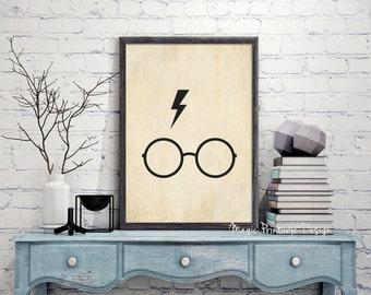 Harry Potter Glasses and Lightning Scar, Harry Potter Glasses, Harry Potter Lightning Scar, Glasses and Scar Harry Potter old paper prints