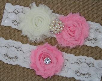 Ivory and  Wedding Garter,Bridal Garter Set,Keepsake Garter,Toss Garter,Ivory Lace Garter,Ivory Wedding Garter Belt -443