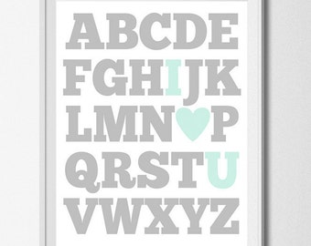ABC Print Digital Nursery Printable Alphabet Print Baby Boy Nursery Wall Art I Love You Print Aqua Grey Nursery Education Print I Heart U