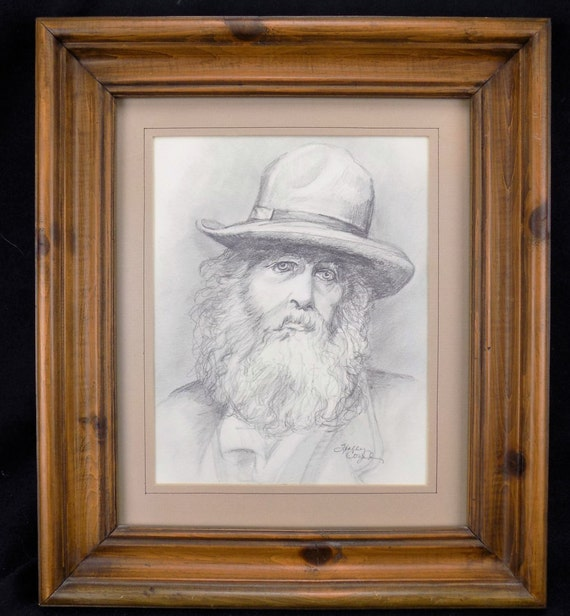 Original Fine Art Pencil Drawing  Photograph of Walt Whitman 1862 by artist Holly Cozad