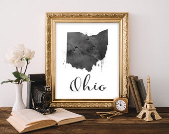 Ohio Art print, Ohio state wall art, Ohio state decor, Ohio Watercolor art print, Ohio decor, Ohio home decor, Watercolor state, Printable