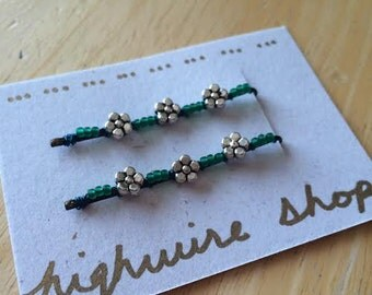 Silver and Teal Flower Beaded Bobby Pins