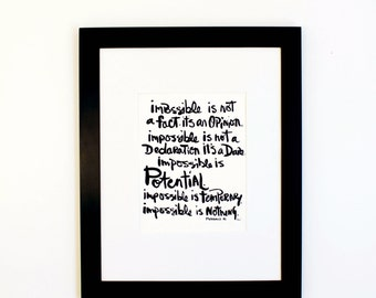 """Impossible is nothing Muhammad Ali quote hand lettered 9 x 12"""" brush script wall art"""