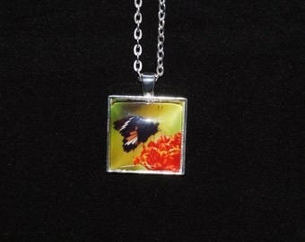 Butterfly Nature Photo Silver Pendant Necklace