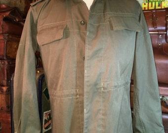 Vintage Czech Military Khaki Green Cotton Shirt Combat Jacket Coat Men's L/XL