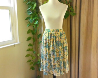 Vintage 80s Floral Print Skirt with Pockets Size S Knee Length Skirt S Full Skirt With Pockets, Cottage Chic Skirt, Casual Skirt, 80s Skirt