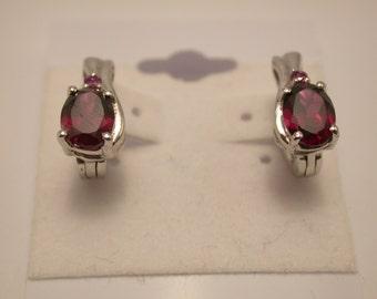 Rhodolite Garnet Earrings, Rhodolite Sterling Silver Earrings, Rhodium Plated, Natural Rhodolite Studs, January Birthstone, Birthstone Studs